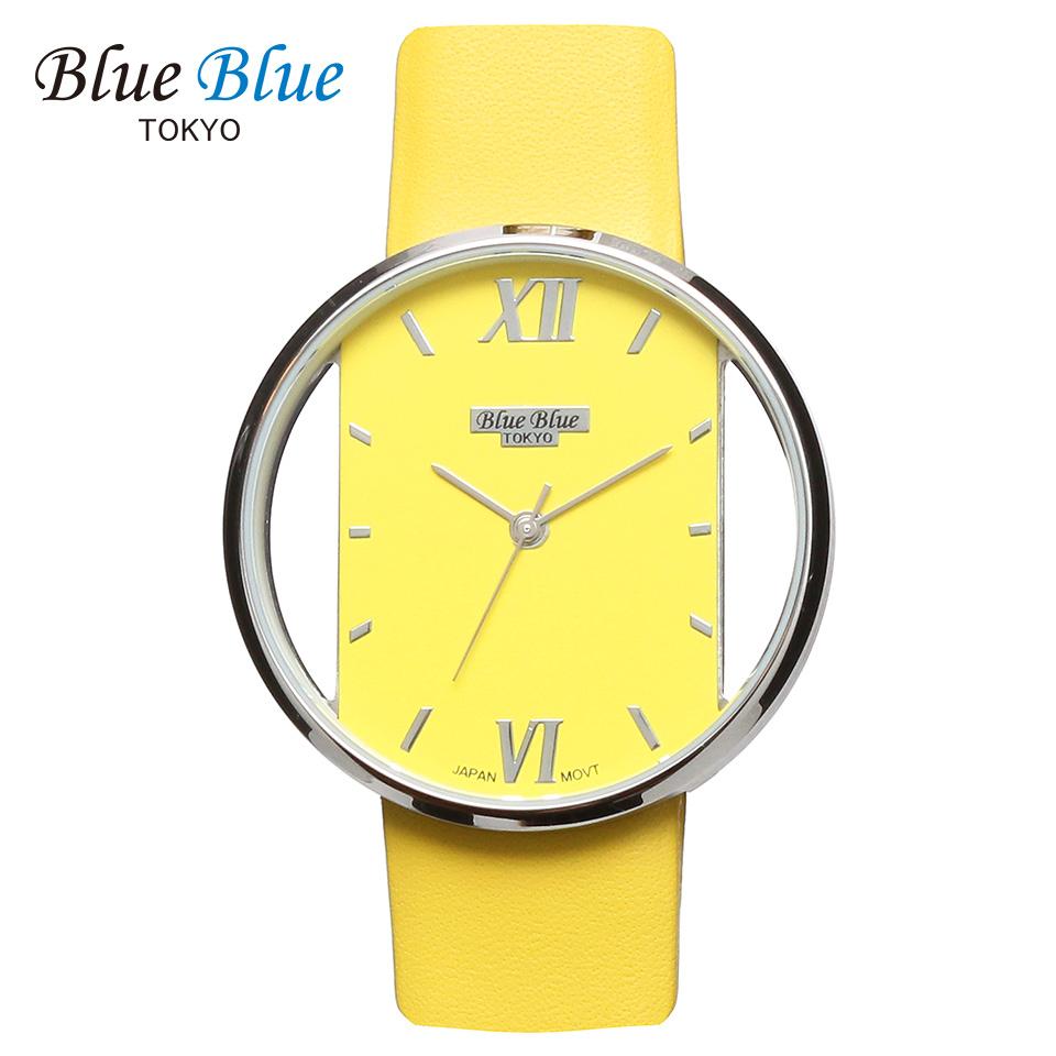 ブルーブルートウキョウ レディース腕時計 BlueBlue TOKYO BR36 イエロー/シルバー ミニマルデザイン ファッションウォッチ ユニセックス 東京ブランド 黄色