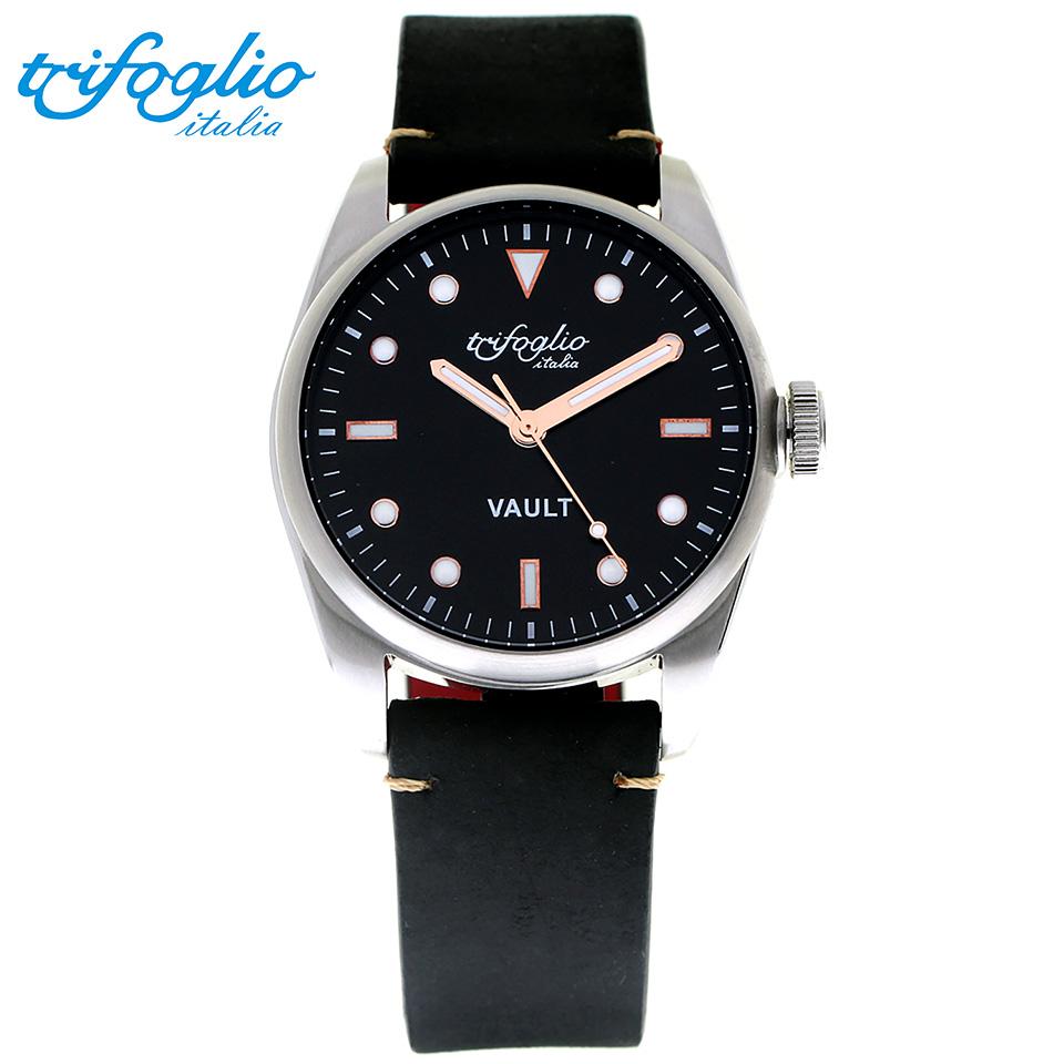 トリフォグリオ ヴォルト (Trifoglio Italia) VAULT VT411SS-RWH スパイウォッチ メンズ腕時計 イタリア時計 ブラック/ブルーインデックス 黒ヌバックストラップ 隠し金庫 小物入れ スイープセコンド