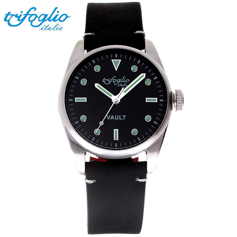 トリフォグリオ ヴォルト (Trifoglio Italia) VAULT VT411SS-SBL スパイウォッチ メンズ腕時計 イタリア時計 ブラック/ブルーインデックス 黒ヌバックストラップ 隠し金庫 小物入れ スイープセコンド