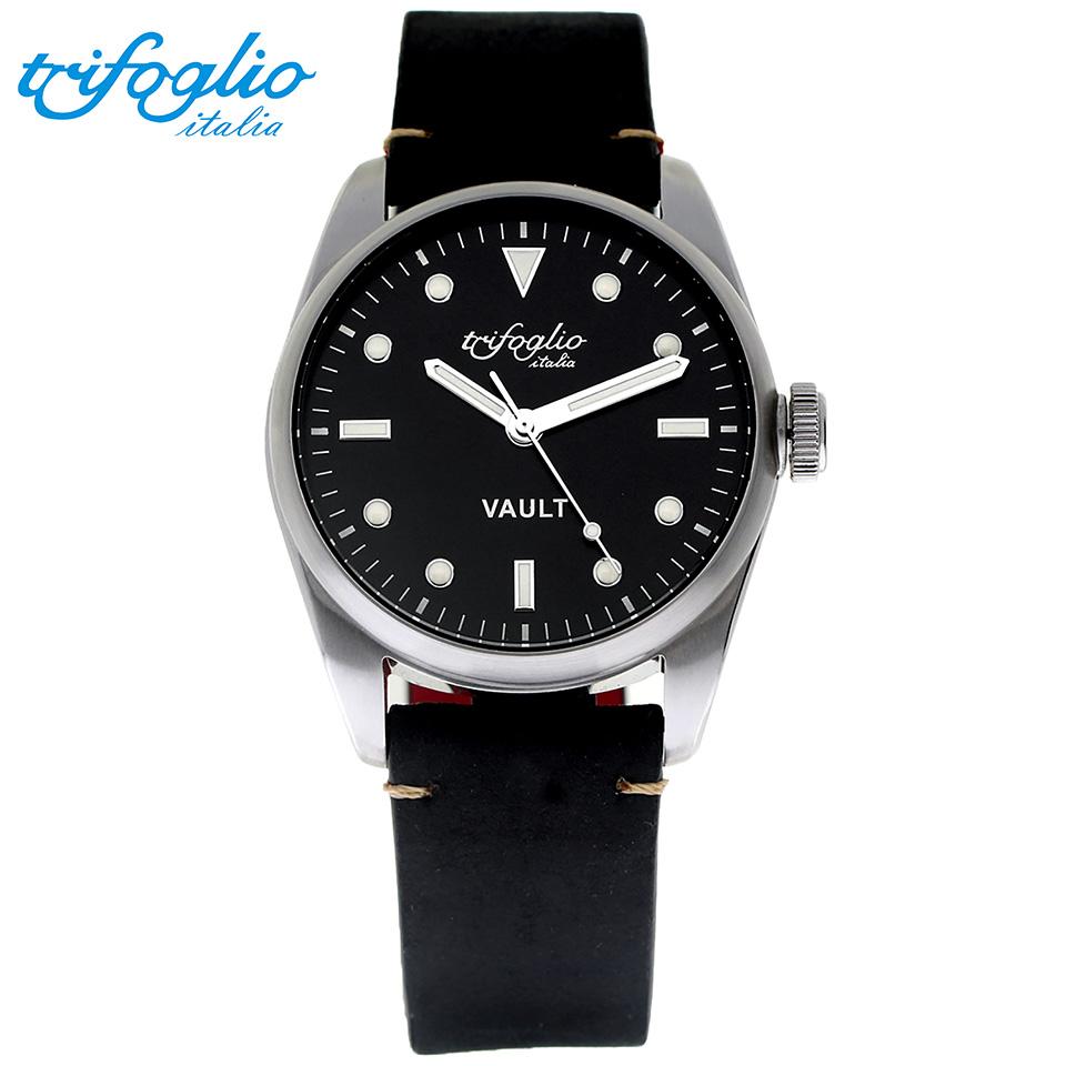 トリフォグリオ ヴォルト (Trifoglio Italia) VAULT VT411SS-SWH スパイウォッチ メンズ腕時計 イタリア時計 ブラック/ホワイトインデックス 黒ヌバックストラップ 隠し金庫 小物入れ スイープセコンド
