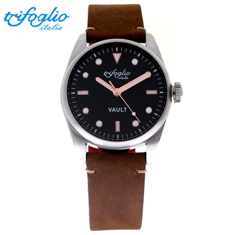 トリフォグリオ ヴォルト (Trifoglio Italia) VAULT VT421SS-RWH スパイウォッチ メンズ腕時計 イタリア時計 ブラック/ブルーインデックス ブラウンヌバックストラップ 隠し金庫 小物入れ スイープセコンド
