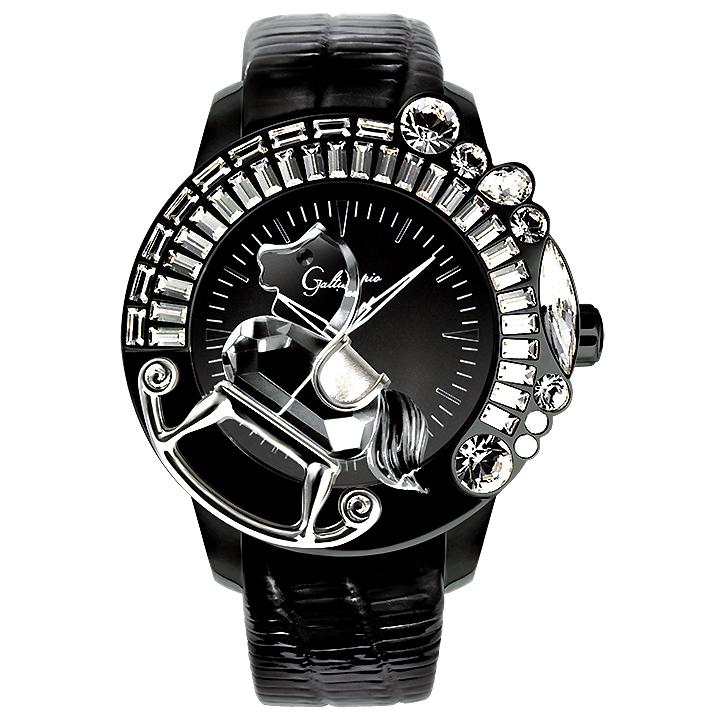 スワロフスキーのキラキラ時計 Galtiscopio(ガルティスコピオ) LA GIOSTRA 1 馬1 ブラック レザーベルト