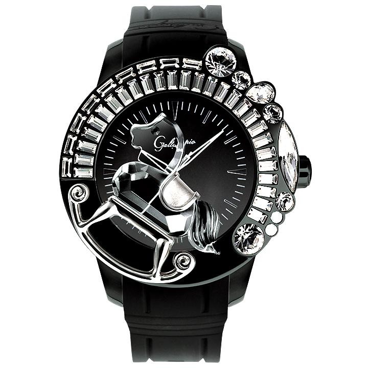 スワロフスキーのキラキラ腕時計 Galtiscopio(ガルティスコピオ) LA GIOSTRA 1 馬2 ブラック ラバーベルト