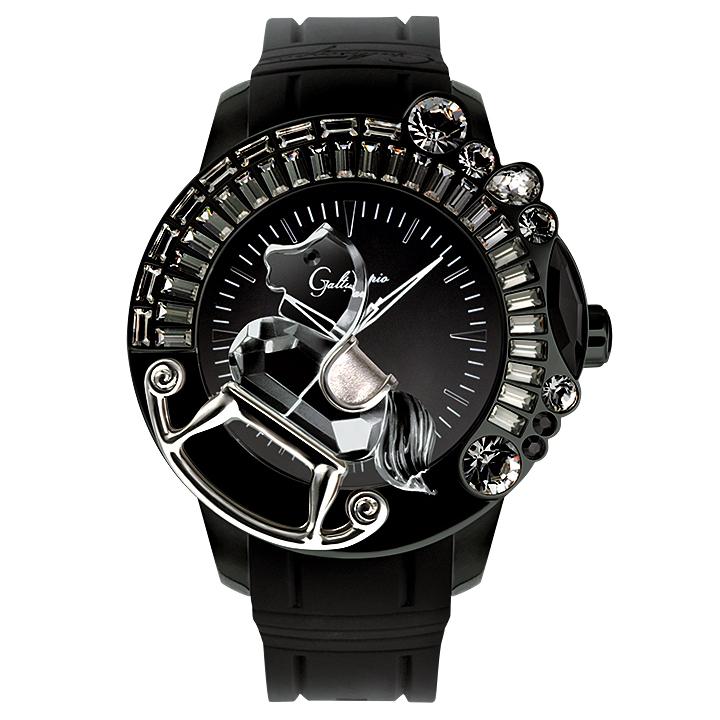 スワロフスキーのキラキラ腕時計 Galtiscopio(ガルティスコピオ) LA GIOSTRA 1 馬3 ブラック ラバーベルト