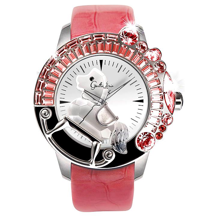 スワロフスキーのキラキラ腕時計 Galtiscopio(ガルティスコピオ) LA GIOSTRA 1 馬4 ピンク レザーベルト