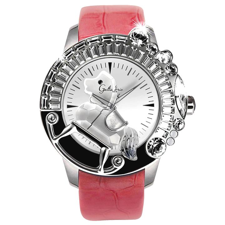 スワロフスキーのキラキラ腕時計 Galtiscopio(ガルティスコピオ) LA GIOSTRA 1 馬5 ピンク レザーベルト