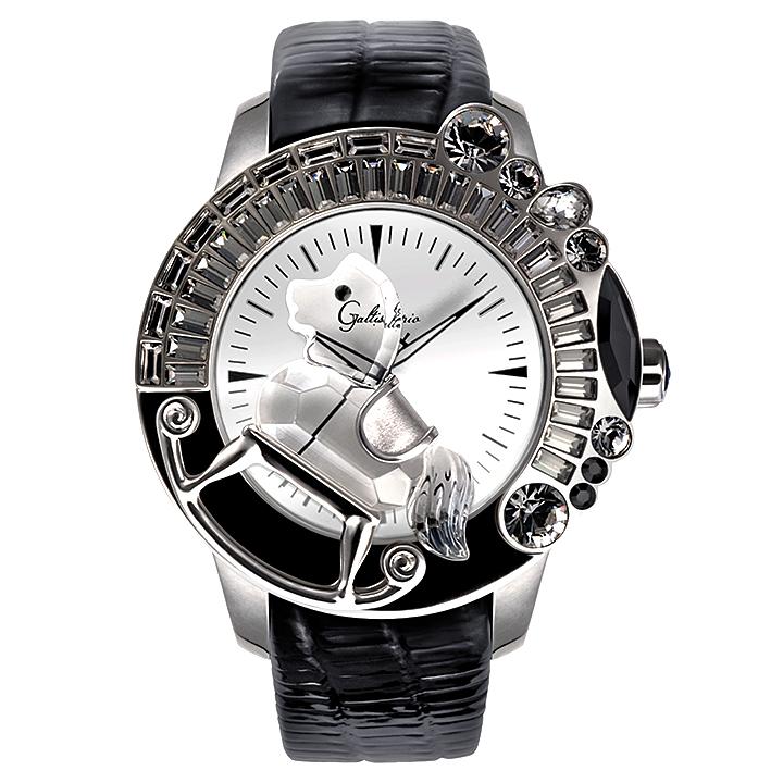 スワロフスキーのキラキラ腕時計 Galtiscopio(ガルティスコピオ) LA GIOSTRA 1 馬6 ブラック レザーベルト
