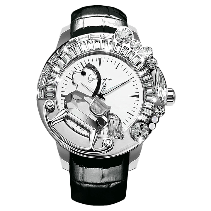 スワロフスキーのキラキラ腕時計 Galtiscopio(ガルティスコピオ) LA GIOSTRA 1 馬7 ブラック レザーベルト