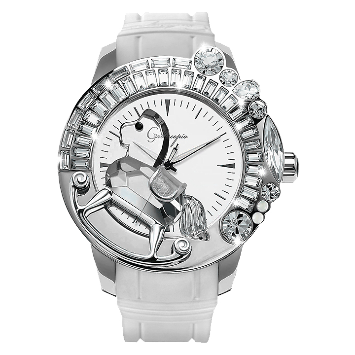 スワロフスキーのキラキラ腕時計 Galtiscopio(ガルティスコピオ) LA GIOSTRA 1 馬22 ホワイト ラバーベルト ミラーダイアル