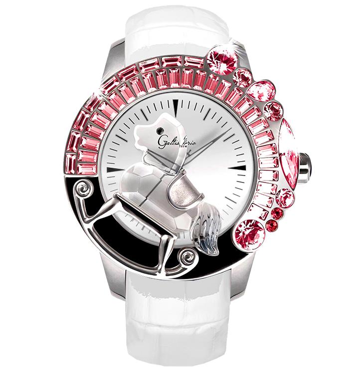 スワロフスキーのキラキラ腕時計 Galtiscopio(ガルティスコピオ) LA GIOSTRA 1 馬10 ホワイト レザーベルト