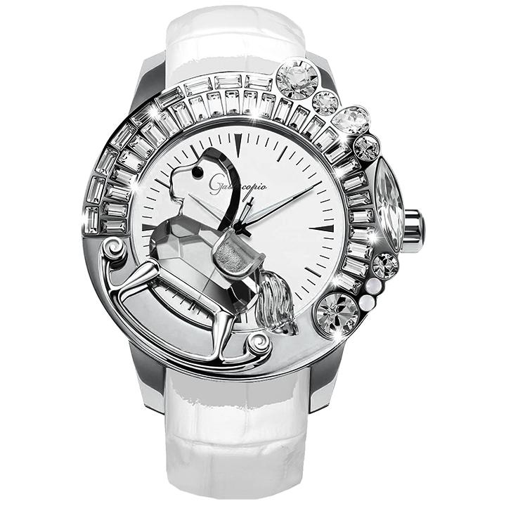スワロフスキーのキラキラ腕時計 Galtiscopio(ガルティスコピオ) LA GIOSTRA 1 馬11 ホワイト レザーベルト