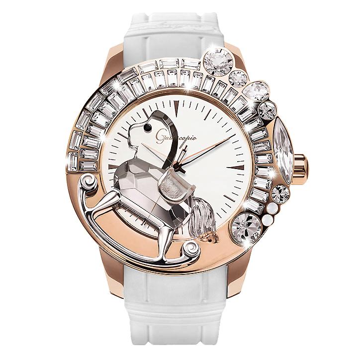スワロフスキーのキラキラ腕時計 Galtiscopio(ガルティスコピオ) LA GIOSTRA 1 馬12 ローズゴールド ホワイト ラバーベルト