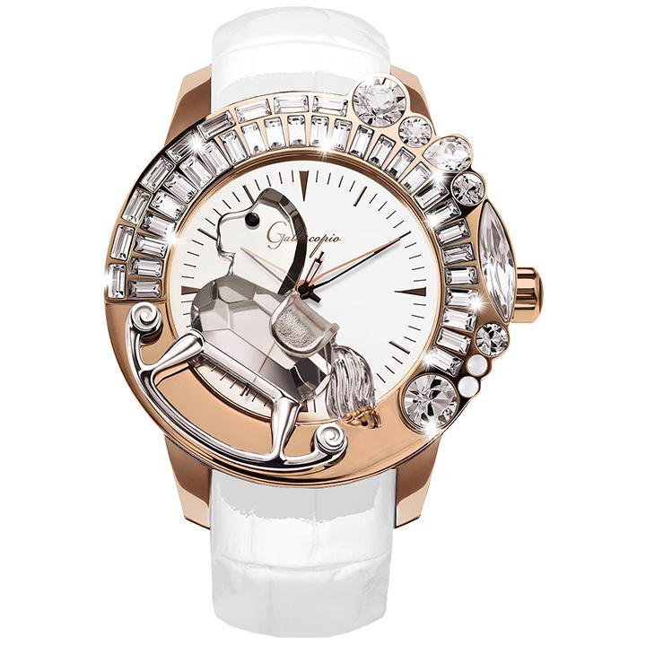 スワロフスキーのキラキラ腕時計 Galtiscopio(ガルティスコピオ) LA GIOSTRA 1 馬13 ローズゴールド ホワイト レザーベルト