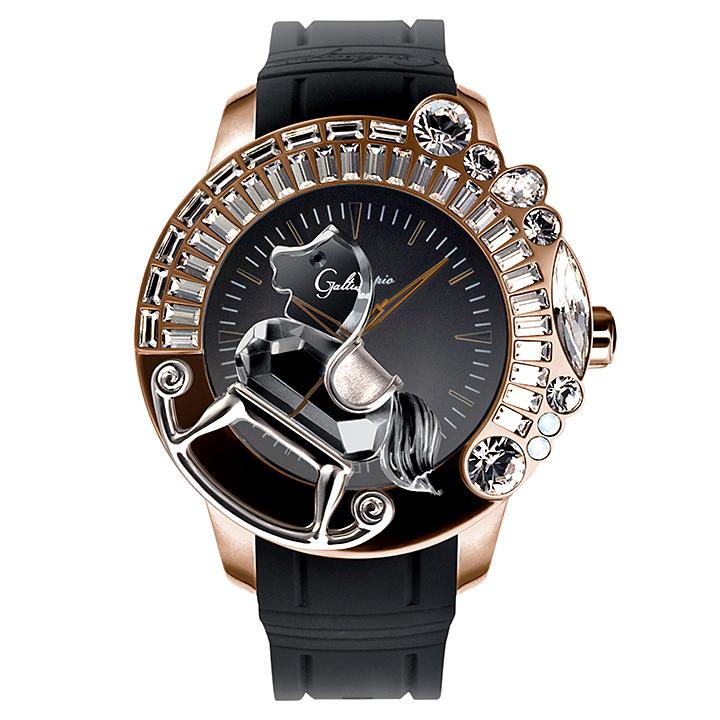 Galtiscopio (ガルティスコピオ) LA GIOSTRA 1 馬14 メンズ腕時計 ローズゴールド ブラック ラバーベルト スワロフスキー ゴージャス キラキラ時計