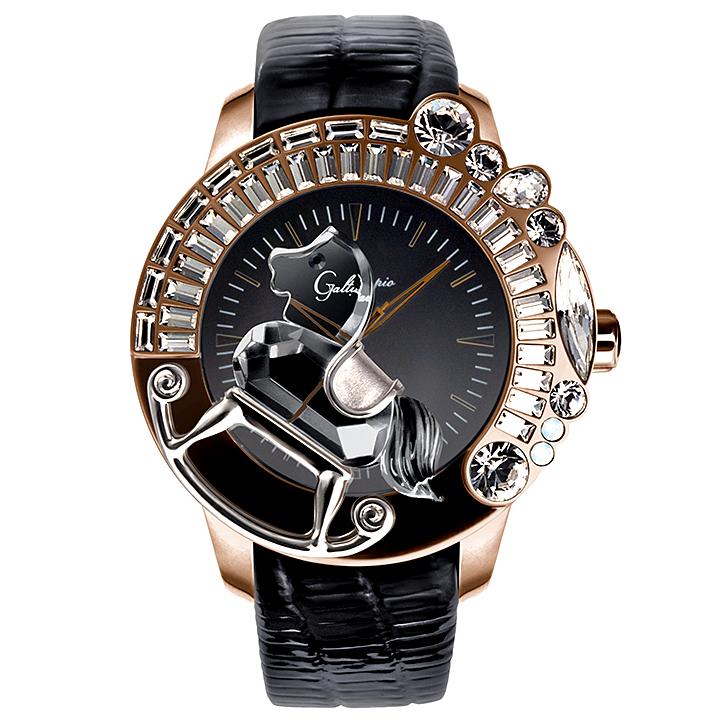 スワロフスキーのキラキラ腕時計 Galtiscopio(ガルティスコピオ) LA GIOSTRA 1 馬15 ローズゴールド ブラック レザーベルト