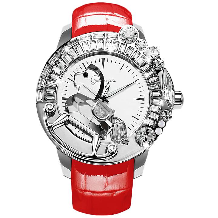 スワロフスキーのキラキラ腕時計 Galtiscopio(ガルティスコピオ) LA GIOSTRA 1 馬16 レッド レザーベルト