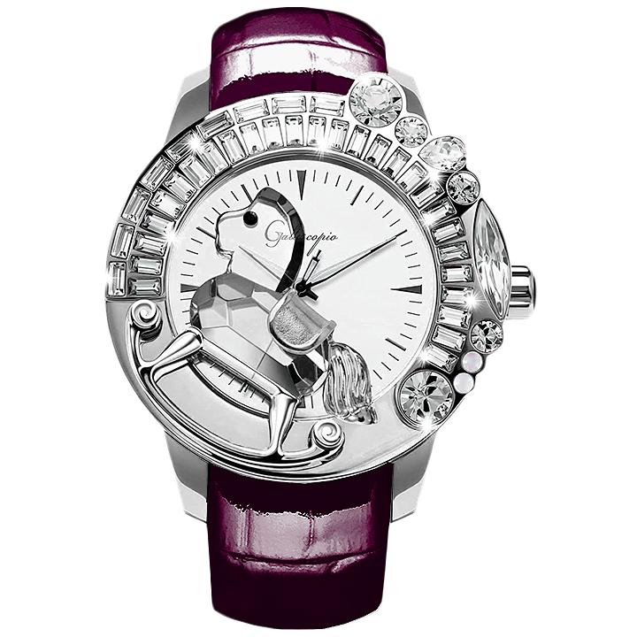 スワロフスキーのキラキラ腕時計 Galtiscopio(ガルティスコピオ) LA GIOSTRA 1 馬17 パープル レザーベルト