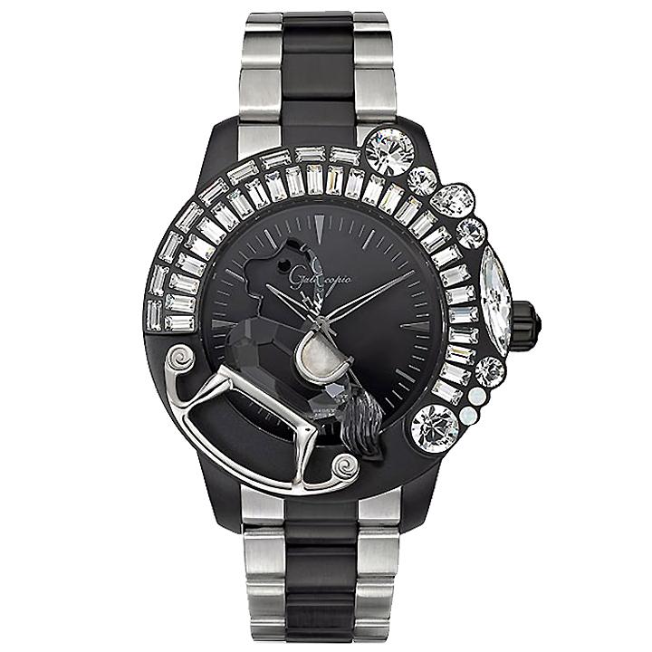 スワロフスキーのキラキラ腕時計 Galtiscopio(ガルティスコピオ) LA GIOSTRA 1 馬18 シルバー/ブラック SSブレスレット