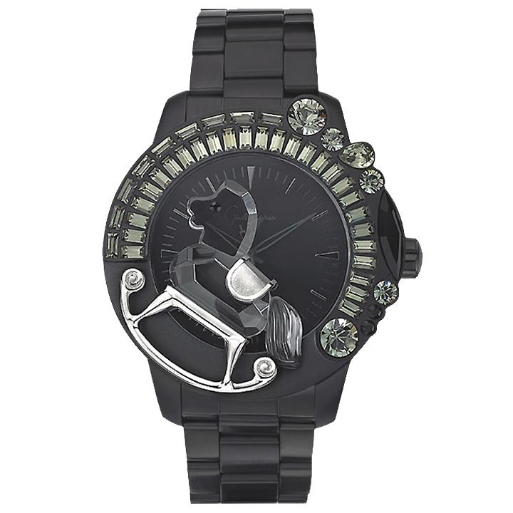 スワロフスキーのキラキラ腕時計 Galtiscopio(ガルティスコピオ) LA GIOSTRA 1 馬19 ガンメタル SSブレスレット