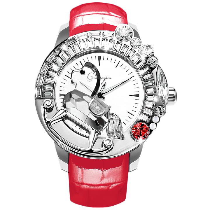 スワロフスキーのキラキラ腕時計 Galtiscopio(ガルティスコピオ) LA GIOSTRA 1 馬21 レッド レザーベルト