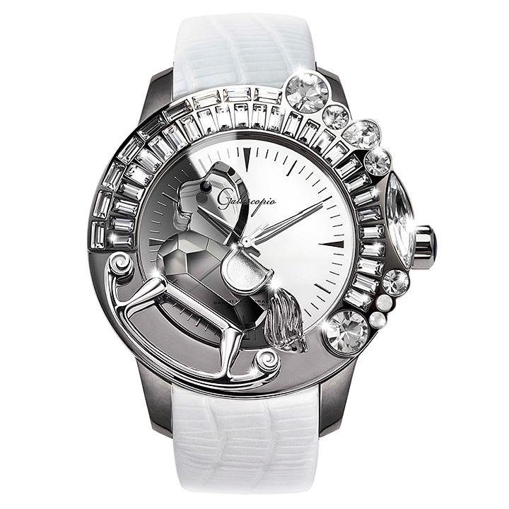 スワロフスキーのキラキラ腕時計 Galtiscopio(ガルティスコピオ) LA GIOSTRA 1 馬23 ホワイト レザーベルト ミラーダイアル
