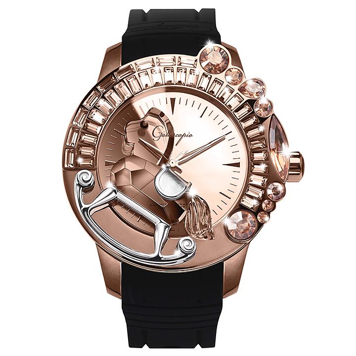 スワロフスキーのキラキラ腕時計 Galtiscopio(ガルティスコピオ) LA GIOSTRA 1 馬24 ローズゴールド ブラック ラバーベルト ミラーダイアル