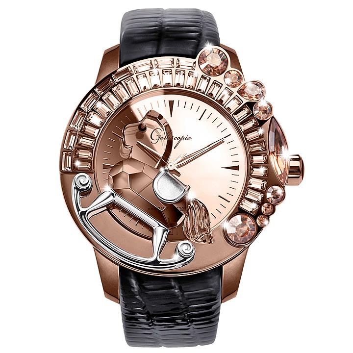 スワロフスキーのキラキラ腕時計 Galtiscopio(ガルティスコピオ) LA GIOSTRA 1 馬25 ローズゴールド ブラック レザーベルト ミラーダイアル