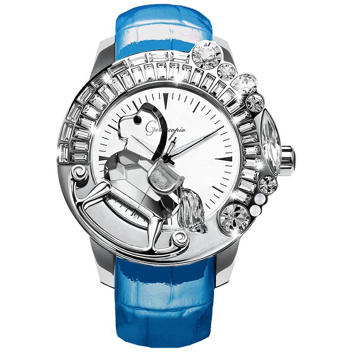 スワロフスキーのキラキラ腕時計 Galtiscopio(ガルティスコピオ) LA GIOSTRA 1 馬26 ライトブルー レザーベルト