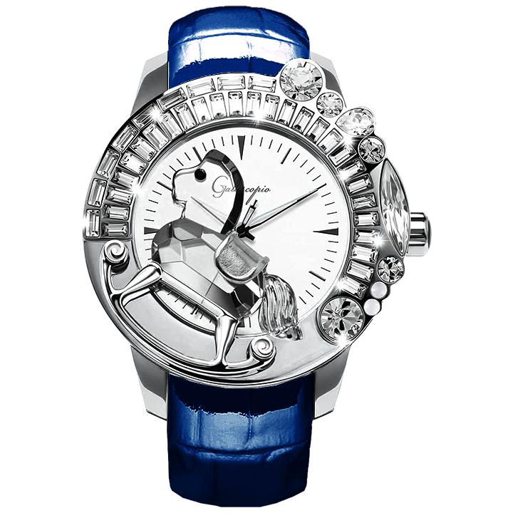 スワロフスキーのキラキラ腕時計 Galtiscopio(ガルティスコピオ) LA GIOSTRA 1 馬27 ブルー レザーベルト