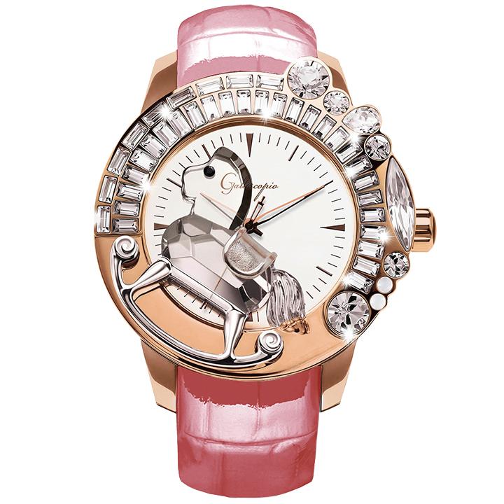 スワロフスキーのキラキラ腕時計 Galtiscopio(ガルティスコピオ) LA GIOSTRA 1 馬28 ローズゴールド ピンク レザーベルト