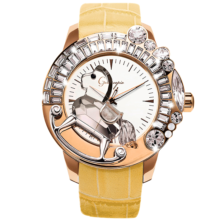 スワロフスキーのキラキラ腕時計 Galtiscopio(ガルティスコピオ) LA GIOSTRA 1 馬29 ローズゴールド イエロー レザーベルト