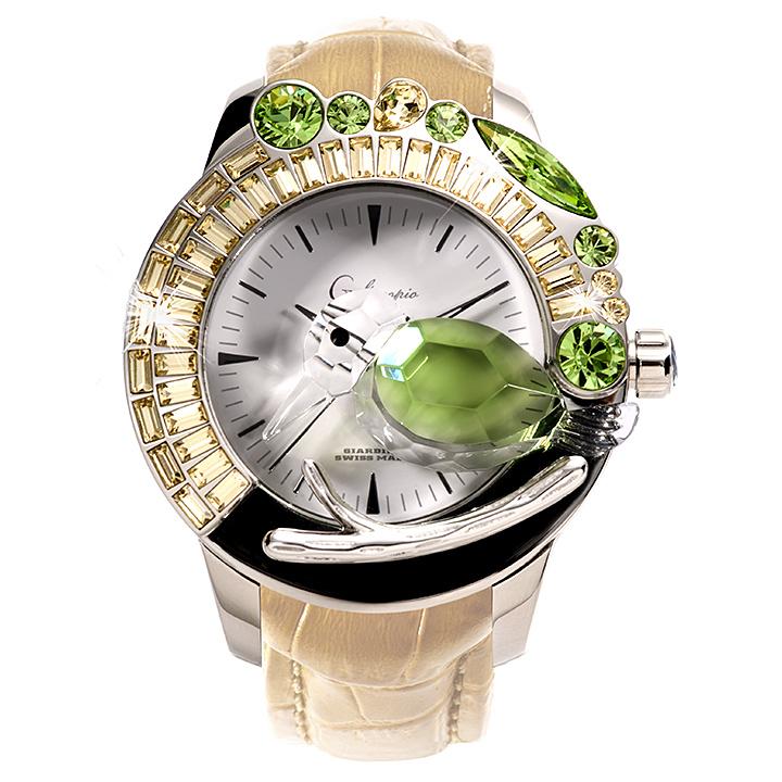 スワロフスキーのキラキラ腕時計 Galtiscopio(ガルティスコピオ) GIARDINO 鳥1 ベージュ レザーベルト