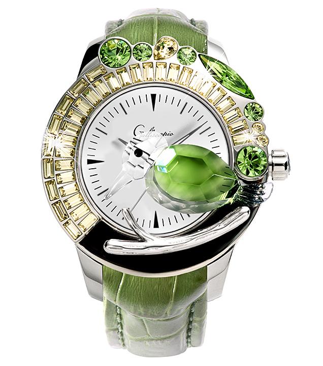 スワロフスキーのキラキラ腕時計 Galtiscopio(ガルティスコピオ) GIARDINO 鳥2 グリーン レザーベルト