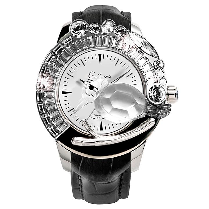 スワロフスキーのキラキラ腕時計 Galtiscopio(ガルティスコピオ) GIARDINO 鳥3 ブラック レザーベルト