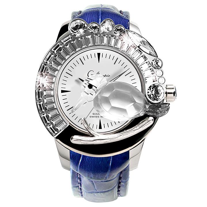 スワロフスキーのキラキラ腕時計 Galtiscopio(ガルティスコピオ) GIARDINO 鳥4 ブルー レザーベルト