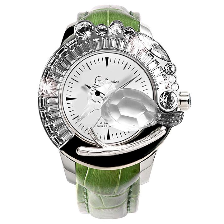 スワロフスキーのキラキラ腕時計 Galtiscopio(ガルティスコピオ) GIARDINO 鳥5 グリーン レザーベルト