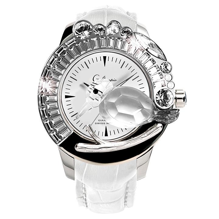 スワロフスキーのキラキラ腕時計 Galtiscopio(ガルティスコピオ) GIARDINO 鳥6 ホワイト レザーベルト