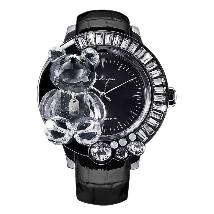 スワロフスキーのキラキラ腕時計 Galtiscopio(ガルティスコピオ) DARMI UN ABBRACCIO 熊1 ブラック レザーベルト