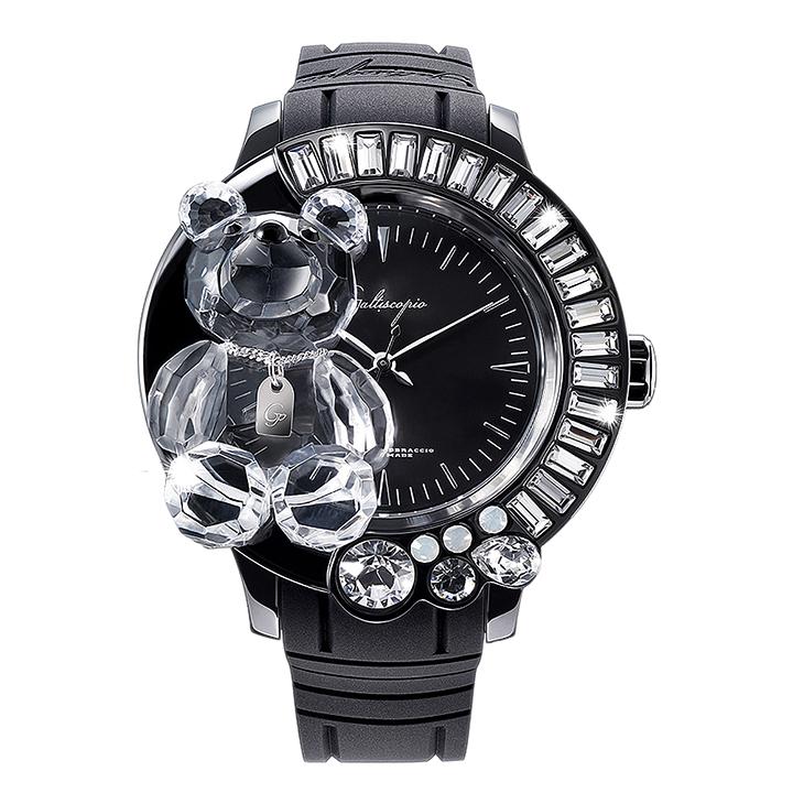 スワロフスキーのキラキラ腕時計 Galtiscopio(ガルティスコピオ) DARMI UN ABBRACCIO 熊2 ブラック ラバーベルト
