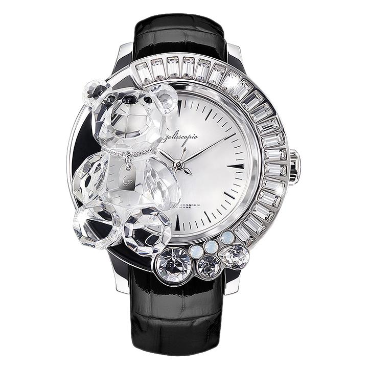 スワロフスキーのキラキラ腕時計 Galtiscopio(ガルティスコピオ) DARMI UN ABBRACCIO 熊3 ブラック レザーベルト