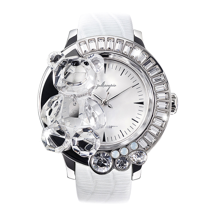 スワロフスキーのキラキラ腕時計 Galtiscopio(ガルティスコピオ) DARMI UN ABBRACCIO 熊4 ホワイト レザーベルト