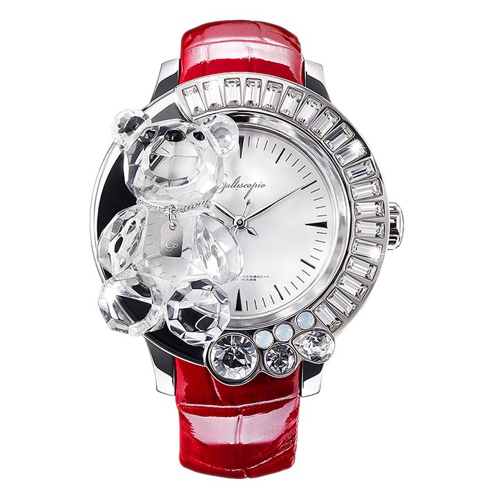 スワロフスキーのキラキラ腕時計 Galtiscopio(ガルティスコピオ) DARMI UN ABBRACCIO 熊5 レッド レザーベルト