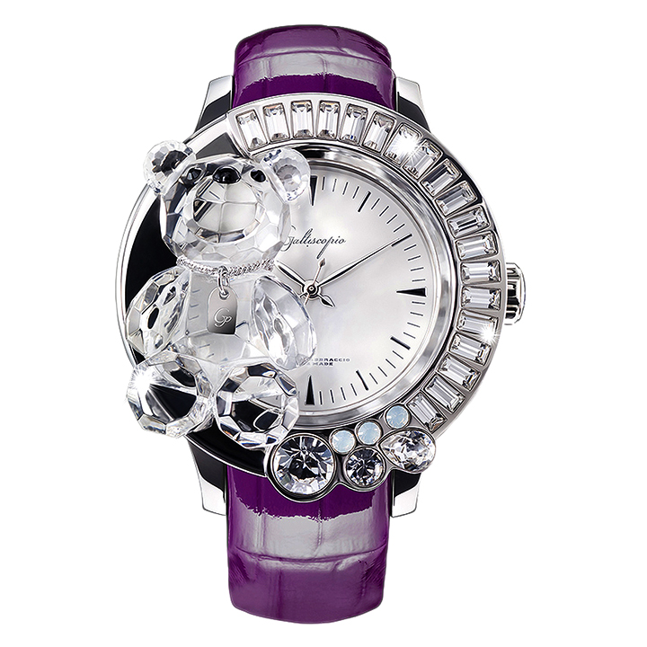 スワロフスキーのキラキラ腕時計 Galtiscopio(ガルティスコピオ) DARMI UN ABBRACCIO 熊6 パープル レザーベルト