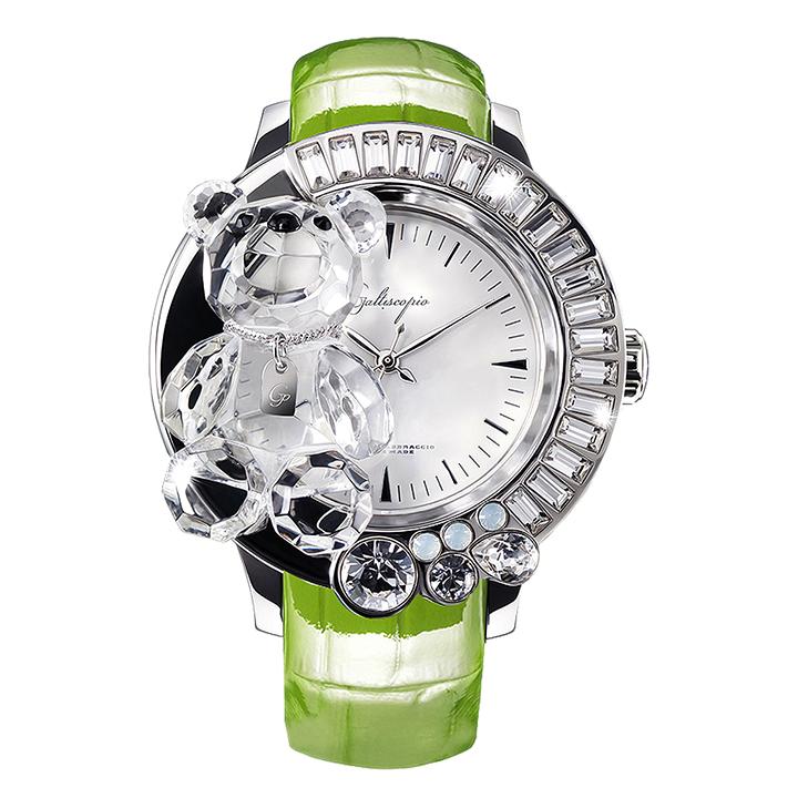 スワロフスキーのキラキラ腕時計 Galtiscopio(ガルティスコピオ) DARMI UN ABBRACCIO 熊7 グリーン レザーベルト