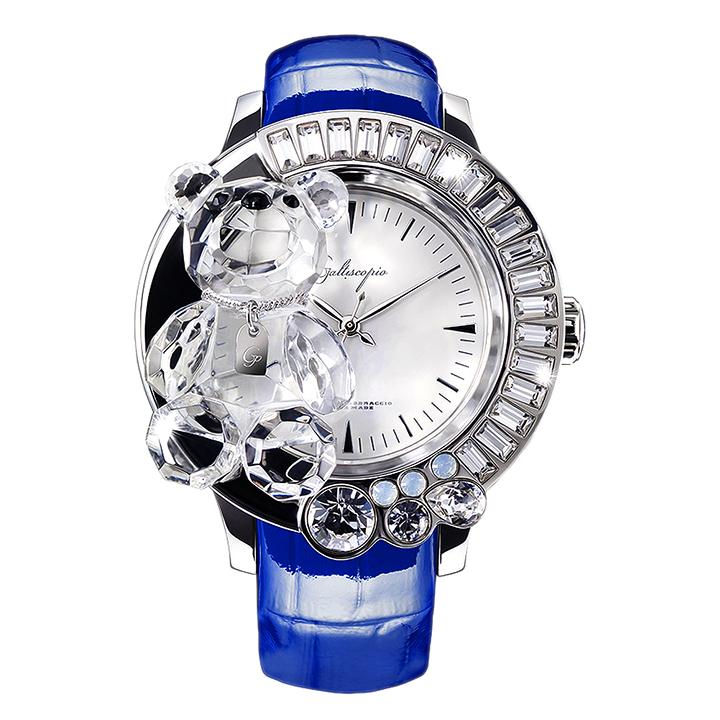 スワロフスキーのキラキラ腕時計 Galtiscopio(ガルティスコピオ) DARMI UN ABBRACCIO 熊8 ブルー レザーベルト