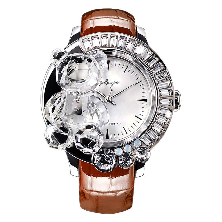 スワロフスキーのキラキラ腕時計 Galtiscopio(ガルティスコピオ)DARMI UN ABBRACCIO 熊9 ブラウン レザーベルト