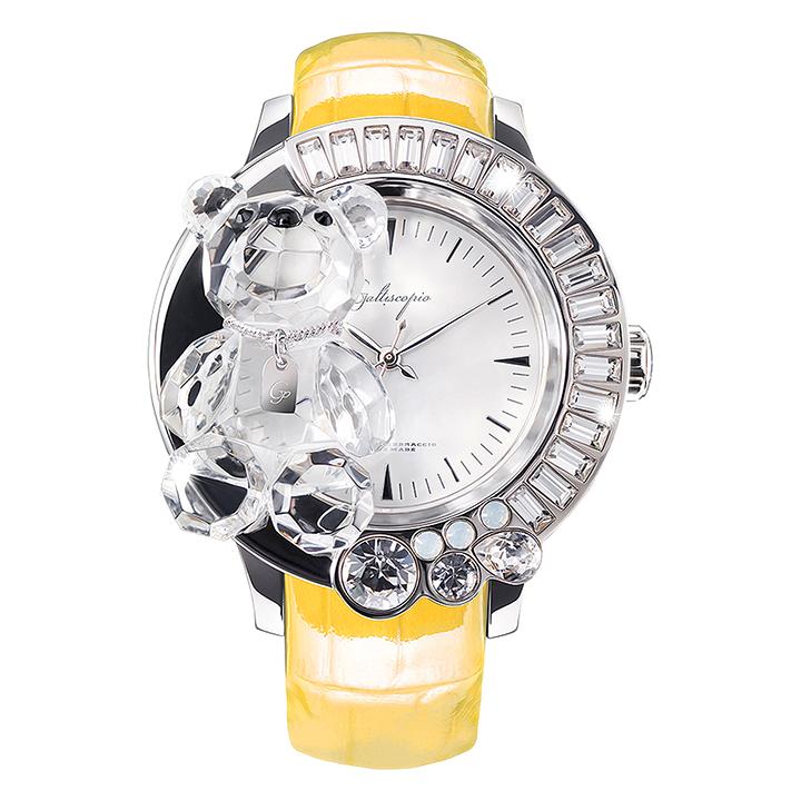 スワロフスキーのキラキラ腕時計 Galtiscopio(ガルティスコピオ)DARMI UN ABBRACCIO 熊10 イエロー レザーベルト