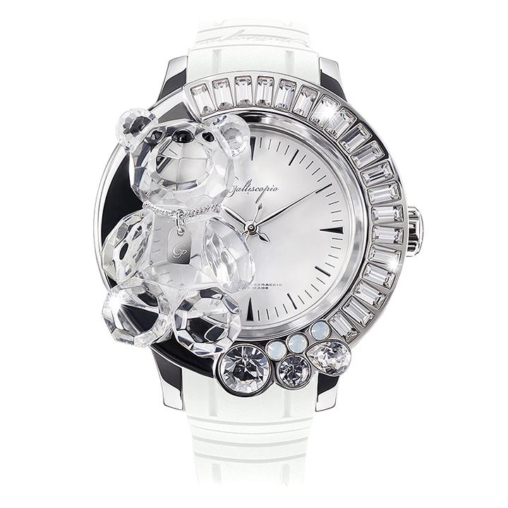 スワロフスキーのキラキラ腕時計 Galtiscopio(ガルティスコピオ) DARMI UN ABBRACCIO 熊13 ホワイト ラバーベルト