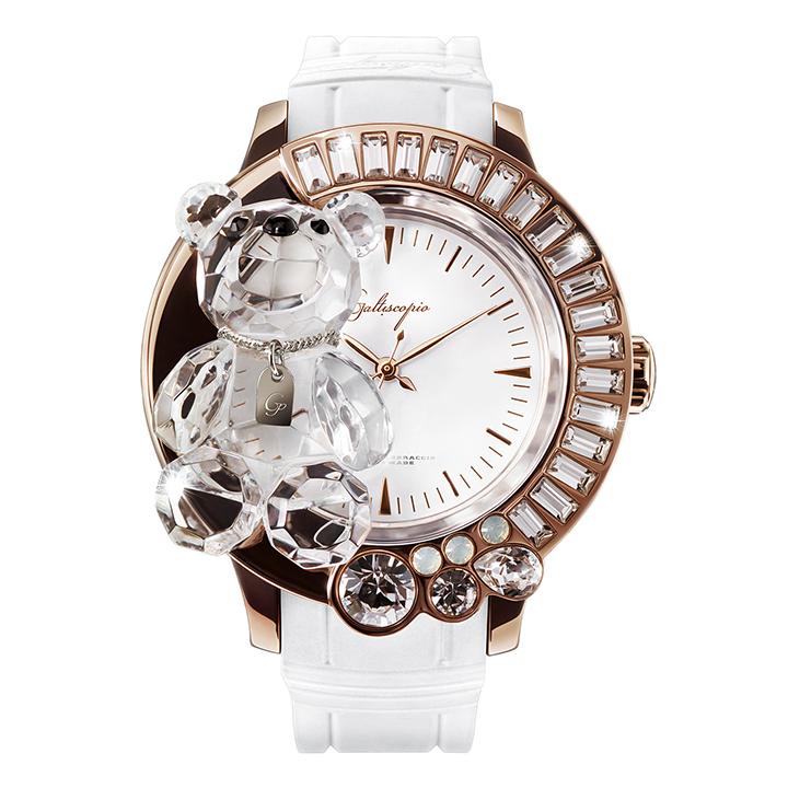 スワロフスキーのキラキラ腕時計 Galtiscopio(ガルティスコピオ) DARMI UN ABBRACCIO 熊14 ローズゴールド ホワイト ラバーベルト