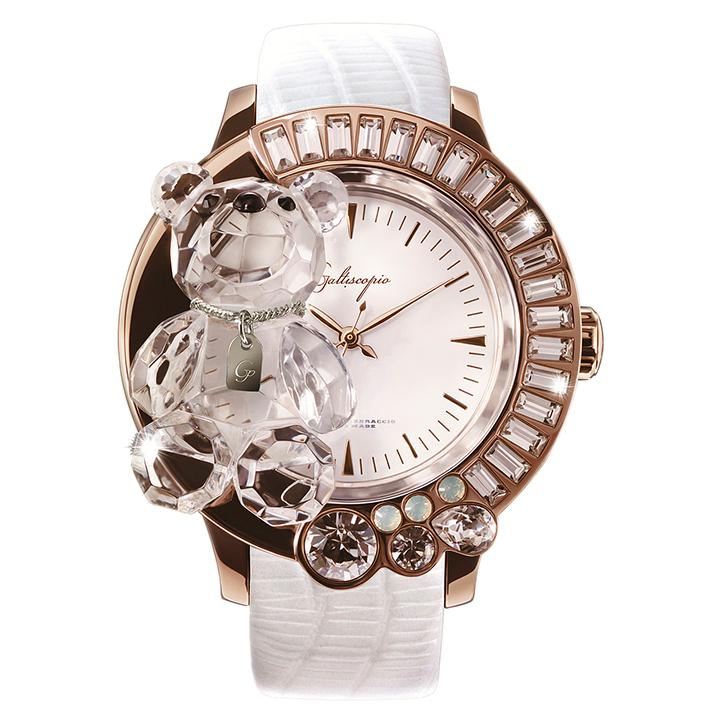 スワロフスキーのキラキラ腕時計 Galtiscopio(ガルティスコピオ) DARMI UN ABBRACCIO 熊15 ローズゴールド ホワイト レザーベルト
